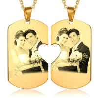 Partner Halskette - Halbherz Dog Tags in Gold mit Fotogravur