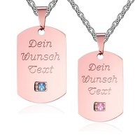 Partner Halsketten - Dog Tags in Rosé mit Textgravur