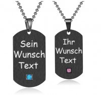 Partner Halsketten - Dog Tags in Schwarz mit Textgravur